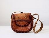 vintage tooled leather purse - 1960's embossed leather shoulder satchel