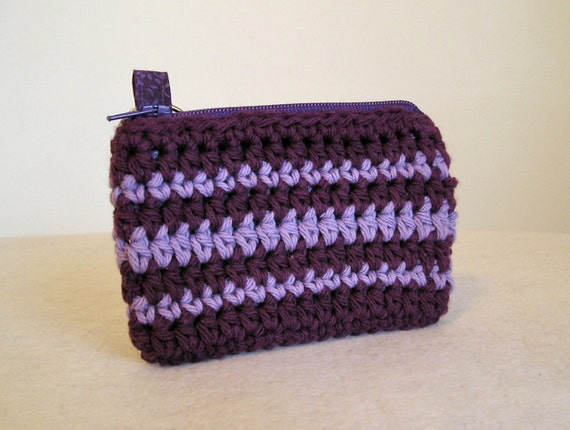 Purple and lavender stripe crocheted card case keychain