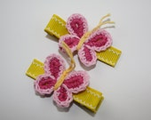SALE - Girls/Baby Pink and Yellow Crochet Butterfly hair clips- Set of 2