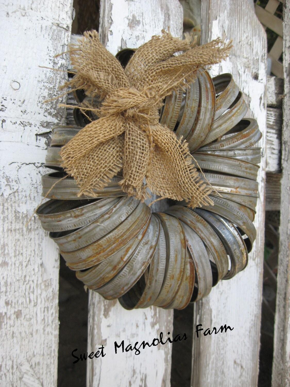 wreath canning jar lids rustic farmhouse by sweetmagnoliasfarm