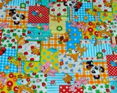 Blue Panda, bambi, bunny and elephant patchwork from Japan Cosmo Half Yard