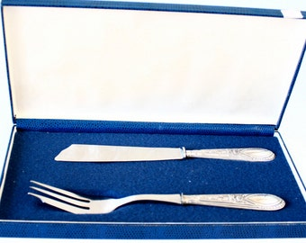 Sterling silver wedding knife and server