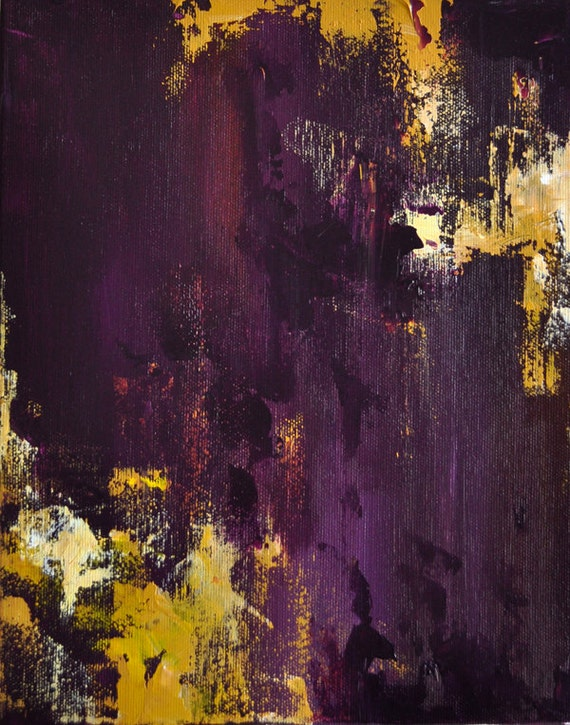 Plum and Yellow Original Abstract Painting 12x9""