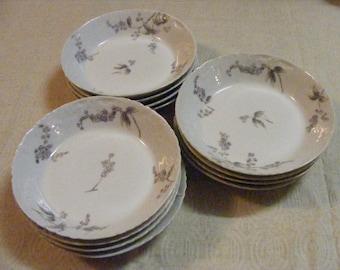 Haviland LIMOGES Bowl Set of 6 Sauce Berry France 1800s Porcelain Blue Brown Floral Charles Field