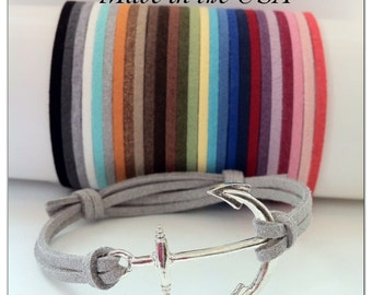 Anchor Bracelet, Suede Leather Anchor Bracelet