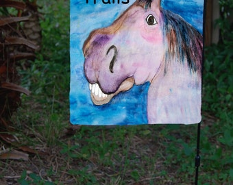 Happy Trails Funny Horse Garden Flag from art. Available in 2 sizes
