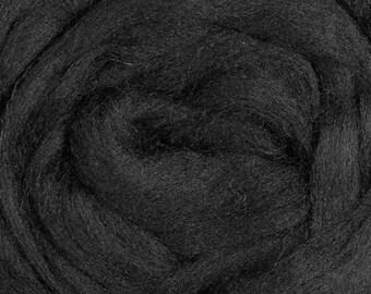 Corriedale  Wool Roving, Black, 4 ounces