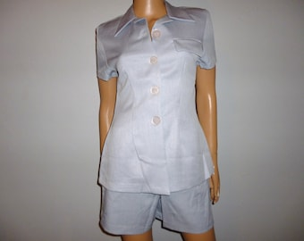 "Vintage 80's - Icy Blue-Grey Shorts and Top - Set  - 32"" Bust/Chest - marked size small"