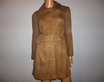"""Vintage 70's - Fawn Color - Thick - Suede - LEATHER - Belted - Jacket - Coat - 38"""" Bust or Chest"""