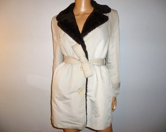 "Vintage 70's - Brown - Faux FUR - Tan - Cinched - Belted - Mod -  Military - Trench Coat - Raincoat - Jacket - 40"" bust"