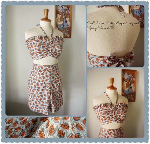 Swell Dame 1950s reproduction playsuit with vintage fabric with fabulous atomic print in ORANGE
