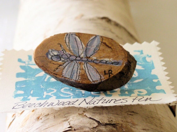 Dragonfly Wooden Pin Brooch Hand Painted Whimsical Made from Natural Wood