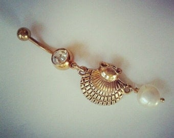 Belly Button Jewelry Ring- Pearl and Oyster Clam Sea Shell Charm Gold Tone Golden Seashell Dangle Navel Piercing Barbell