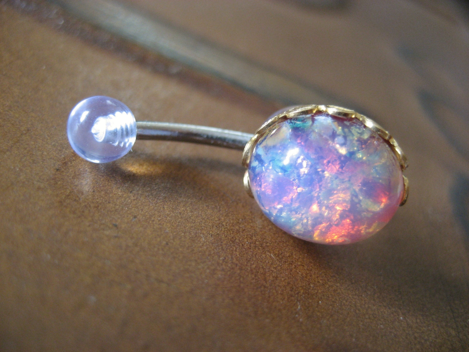 pink opal belly button jewelry stud ring navel piercing bar