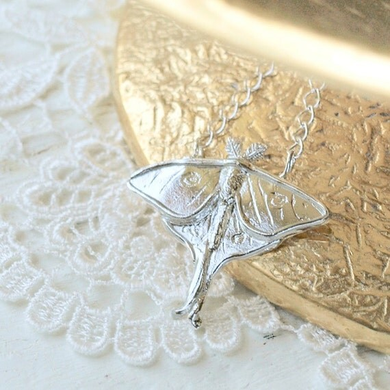 Luna Moth Necklace in Sterling Silver by Woodland Belle