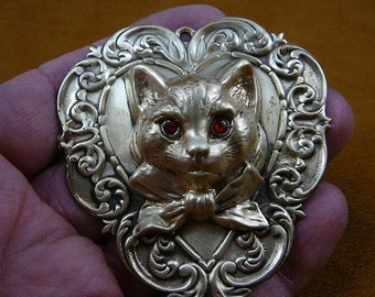 large Cat head with red eyes and neck bow kitty kitten love cats lover heart scrolled Victorian brass brooch pin pendant B-Cat-408
