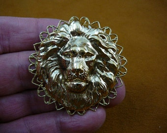 lion head King pride leader love lions filigree Victorian repro brass pin pendant B-Lion-356
