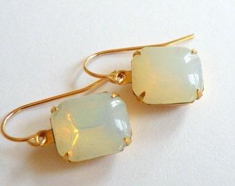 Opal earrings October birthstone earrings White opal moonstones earrings  Opal dangles Square opals Square moonstones 14k gold fill dangles