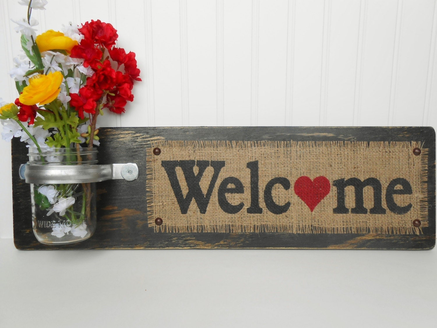 Welcome Wall Hanging Wooden Letters Wall Flower Holder Wall