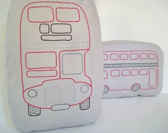 London  Double Decker Bus Shaped Pillow - Soft Toy - Hand Embroidered