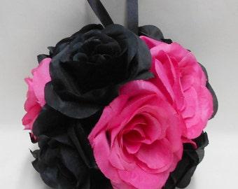 Wedding Reception Black Hot Pink Kissing Ball Pomander Pew Decorations Flower Girl Basket Bouquet Your Colors