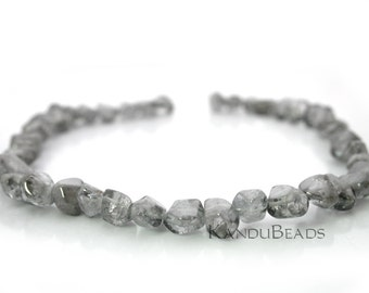 SALE 40% - Silver Cloud Gray Color Quartz  Smooth Semi Faceted Nugget beads 13x9mm 15 inch strand
