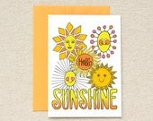 Hello Sunshine - single blank card - 40% OFF