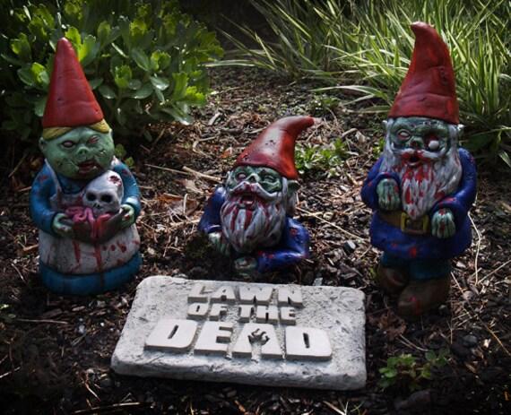 Gnome In Garden: Items Similar To Zombie Gnomes, Original Set