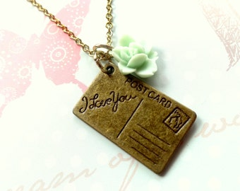 Long Distance Love. Sweet Postcard Charm with Mint Rose Necklace.