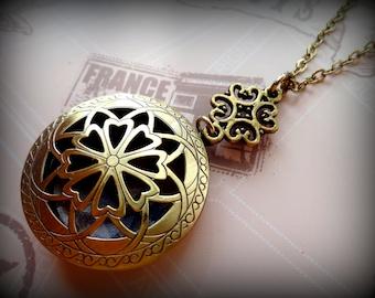 Celtic Flower Locket Necklace in Bronze