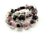SALE - Pink and Black Pebble Lampwork Bead Set - Handmade Lampwork Beads - Set of 20 Beads - Bead Sale, Destash, Reduced - MadeByFire