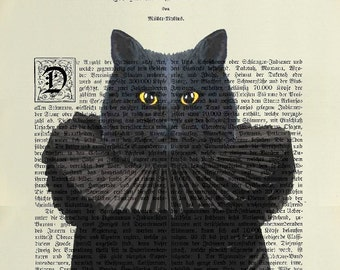 BLACK CAT Giclee Print Poster Mixed Media Painting  Wall Decor