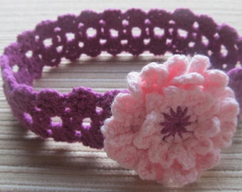 Crochet Pattern #103 Purple Lacy Headband with a Pink Flower for a Baby Girl
