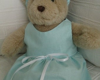 Teddy Bear Clothes, Tiffin Cotton Dress & Headband