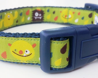 Silly Monsters - Dog Collar / Handmade / Pet Accessories / Adjustable / Mustache Monster
