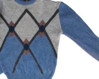 70s Geometric Sweater, Pullover Diamonds Wool Sweater Med, Wool Jumper Blue Gray Brown