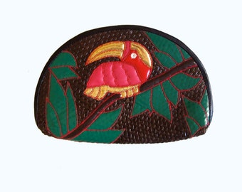 80s Woven Rattan Clutch Toucan Bird, Tropical Purse Red Green