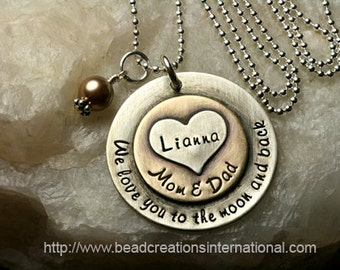 NEW We Love You To The Moon from Mom and Dad with Childs Name in Sterling Silver and Brass w/ Heart Stacked on Top Hand Stamped Necklace