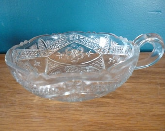 Vintage Pressed Glass Candy Dish With Handle