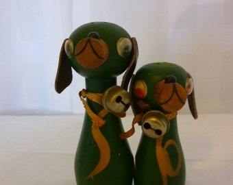 Mid Century Wooden Dog Magnetic Salt and Pepper Shakers