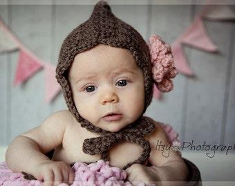 Baby Bonnet, Baby Pixie Bonnet, Crochet Baby Bonnet, Flower Bonnet, Baby Hat