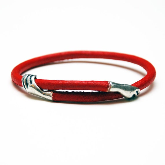 Self Embracing Adjustable Red Leather Bracelet