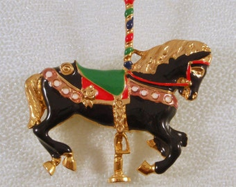Vintage Carousel Horse Enamel Brooch Red Green Black