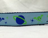 Dog Collar, Aliens, 1 inch wide, adjustable, quick release, metal buckle, chain, martingale, hybrid, nylon