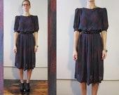 Vintage 80s dark jewel toned dress / dark blue, purple, emerald green / geometric pattern knee length dress