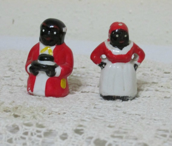 Mammy And Pappy Black Americana Miniature Porcelain Figurines