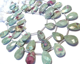 Ruby in Zoisite Large faceted flat briolettes whole strand