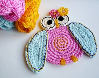Crochet Owl Coasters - Crochet Bird Coasters - Crocheted Owl - Drink Coasters - Crochet Owl - Owl Kitchen Decor - Set of 2 - Wedding Gift