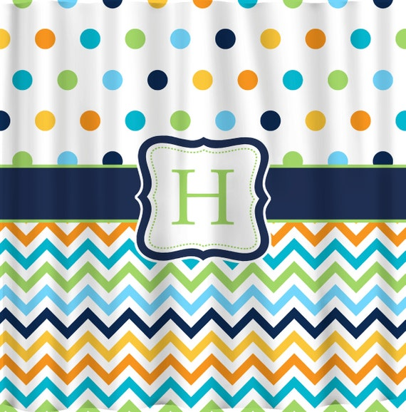 Items Similar To Shower Curtain Multi Color Dots And Chevron Any Colors O