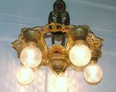 Vintage Ceiling Light Antique Chandelier Lighting Art Deco Nouveau Hanging 5 Bulb Fixture Cast Iron